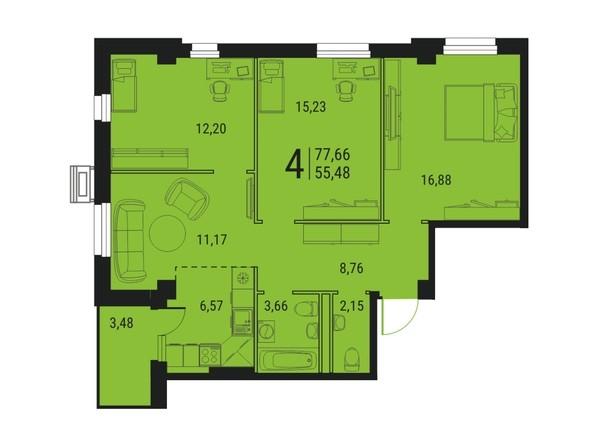 Планировка 4-комн 77,66 м²