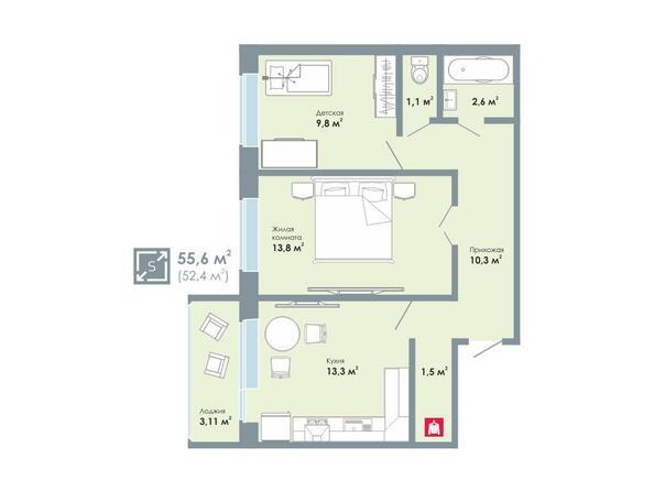 2-комнатная 55,6 кв.м