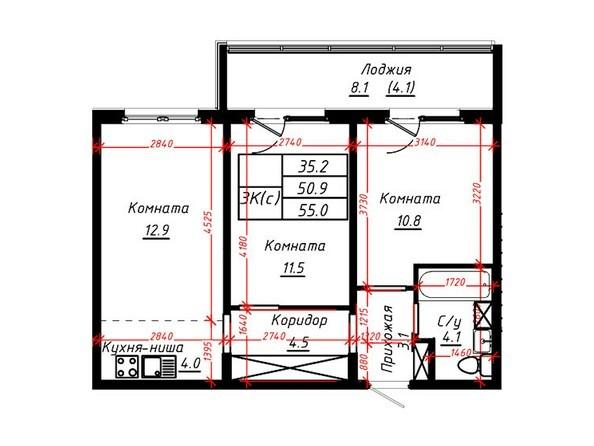 3-комнатная 55 кв.м