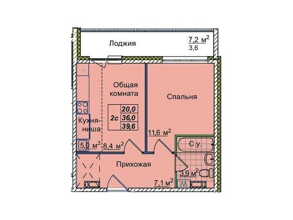 Планировки Жилой комплекс ЮНОСТЬ, дом 1/1 - 2-комнатная 39,6 кв.м