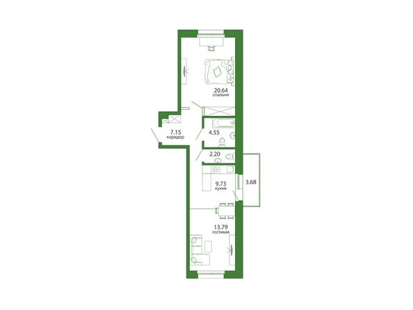 2-комнатная 61,74 кв.м