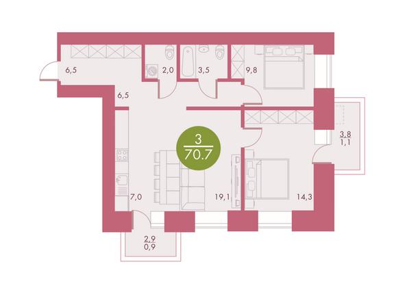 Планировки Жилой комплекс Арбан SMART (Смарт) на Шахтеров, д 2 - Планировка трехкомнатной квартиры 70,7 кв.м