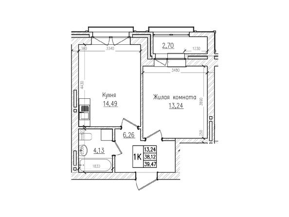 Планировки Жилой комплекс КРАСНЫЙ ПРОСПЕКТ, дом 4 - 1-комнатная 38,12 кв.м