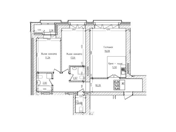 Планировки Жилой комплекс КРАСНЫЙ ПРОСПЕКТ, дом 2 - 3-комнатная 74,5 кв.м