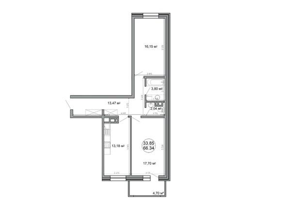 Планировка 2-комн 66,34, 66,5 м²