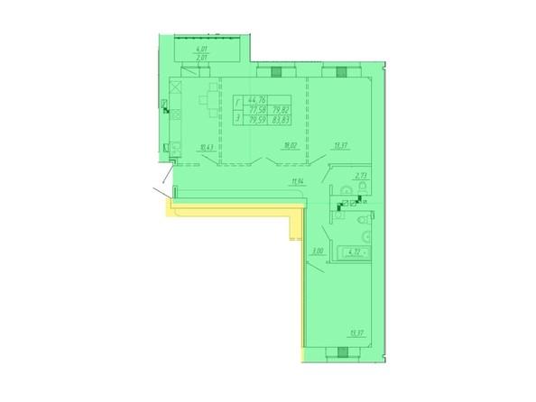 Планировка 3-комнатной квартиры 83,83 кв.м