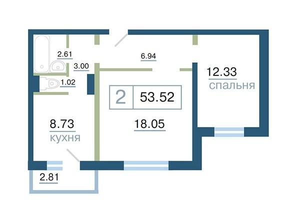 Планировка  53 - 53,57 м²