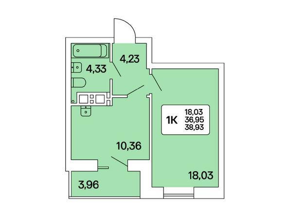 1-комнатная 38,93 кв.м