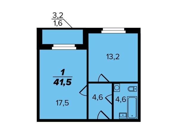 1-комнатная 41,5 кв.м.