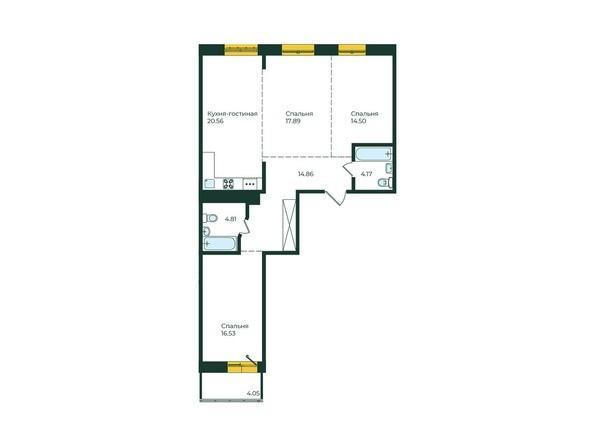 3-комнатная 97,37 кв.м