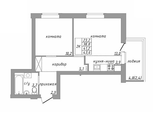 Планировка 2-комн 41,2, 43,6 м²