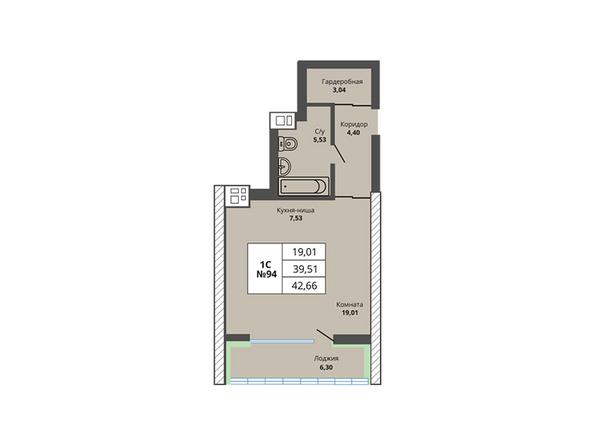Планировки Жилой комплекс PRIME HOUSE (Прайм хаус) - Планировка однокомнатной квартиры 39,51 кв.м