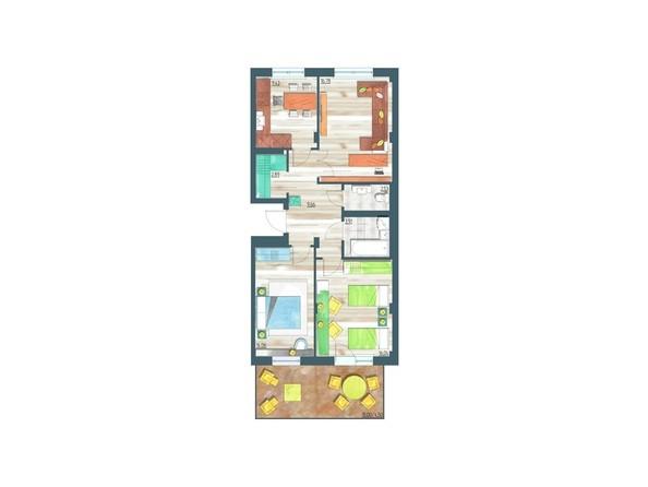 Планировки Жилой комплекс ЖИВЁМ эко-район, 10 квартал, дом 1 - Планировка трехкомнатной квартиры 79,8 кв.м