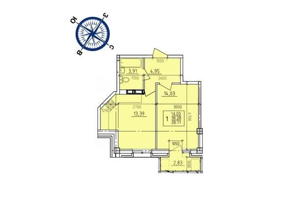 Планировки Жилой комплекс ИРКУТСКИЙ ДВОРИК-2, дом 2 (б/с 7,8,9) - Планировка однокомнатной квартиры 39,11 кв.м