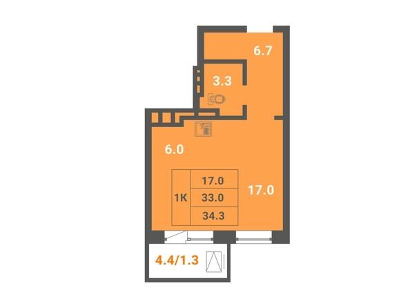 1-комнатная 34,3 кв.м