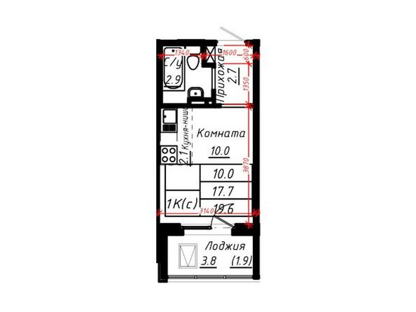 1-комнатная 19,6 кв.м