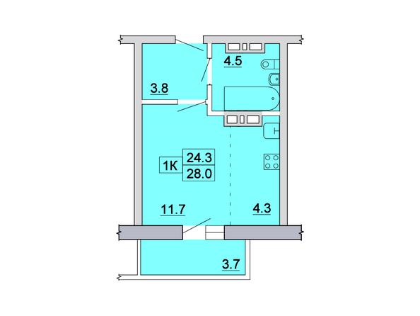 Планировка 1-комн 28, 28,5 м²