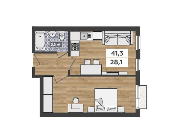 1-комнатная на 2 этаже