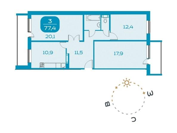 3-комнатная 77,4 кв.м