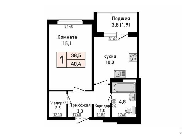 1-комнатная 40 кв.м