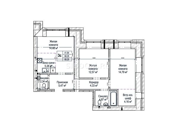Планировки Жилой комплекс ГРИНАРТ, дом 5 - Планировка трехкомнатной квартиры 68,2 кв.м.