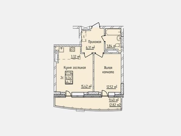 Планировки Жилой комплекс ПРОСВЕЩЕНИЕ - Планировка двухкомнатной квартиры 41,41 кв.м