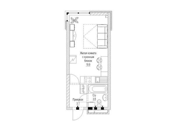 Планировка 1-комн 27 м²