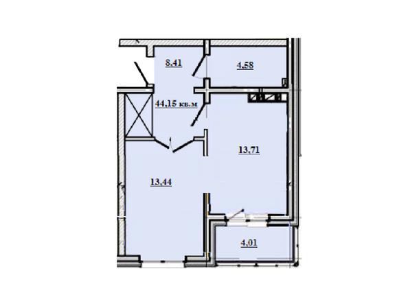 1-комнатная 44,15 кв.м