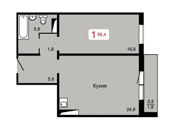 Планировка 1-комн 56,4 м²