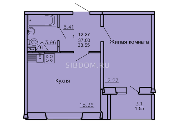 Планировка 1-комн 37 - 38,74 м²