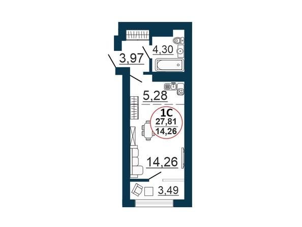 Планировка Студия 27,48 - 28,41 м²