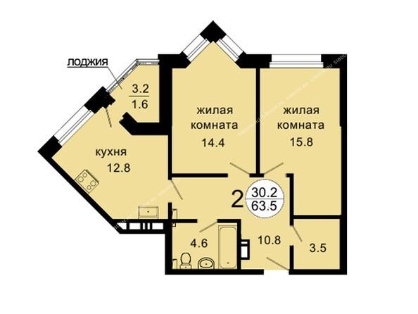 Планировки Жилой комплекс НОВАЯ ПАНОРАМА , дом 3 - Планировка двухкомнатной квартиры 63,5 кв.м
