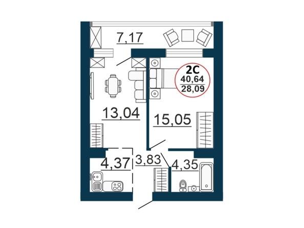 Планировка 2-комн 40,64 м²