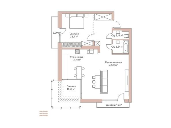 Планировка 2-комн 79,45 м²