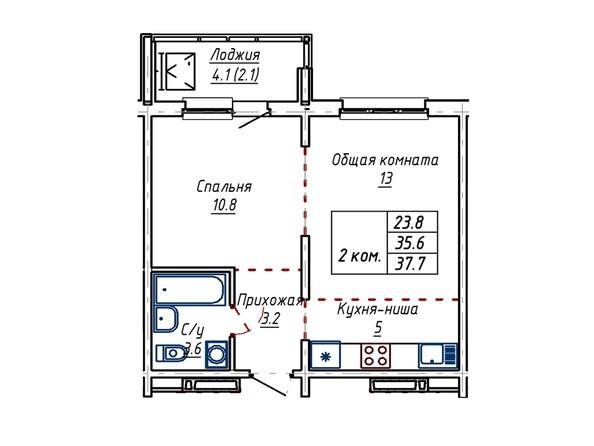 Планировка двухкомнатной квартиры 37,7 кв.м