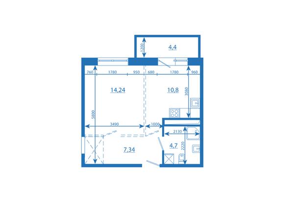 Планировка однокомнатной квартиры 41,48 кв.м