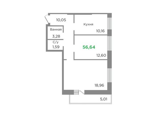 Планировки Жилой комплекс ЯСНЫЙ БЕРЕГ, дом 7 - Планировка двухкомнатной квартиры 56,64 кв.м