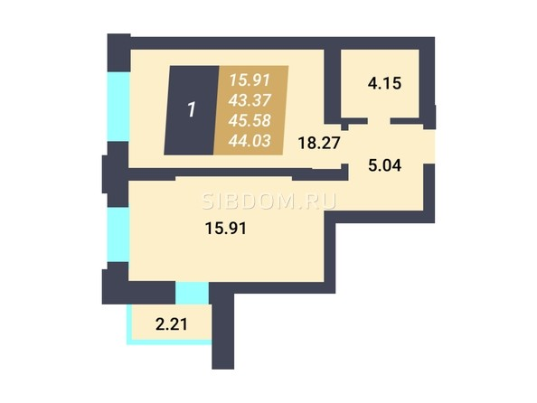 Планировка 1-комн 43,37 м²