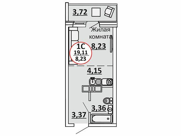 Планировки Жилой комплекс ВЕСЕННИЙ, Заречная 39, дом 2/4 - 1-комнатная 20,97 кв.м