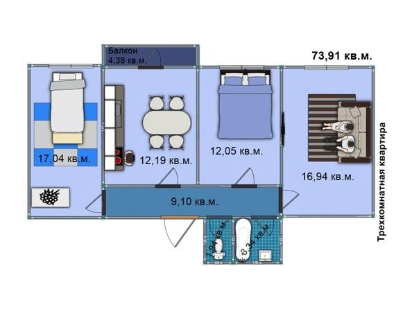 Планировка 3-комн 73,9, 73,91 м²