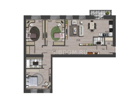 Планировки Жилой комплекс ПРЕОБРАЖЕНСКИЙ, дом 9 - 4-комнатная 111,67 кв.м