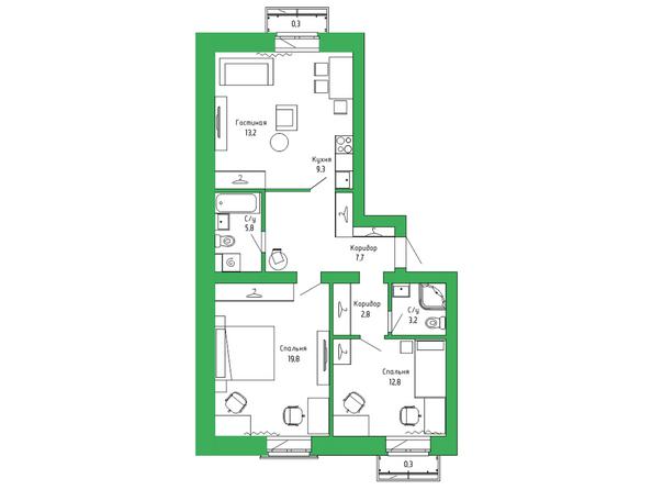 3-комнатная квартира 76,84