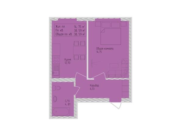 Планировки Жилой комплекс СЕВЕРО-ЗАПАДНАЯ, дом 5 - 1-комнатная 38,59 кв.м