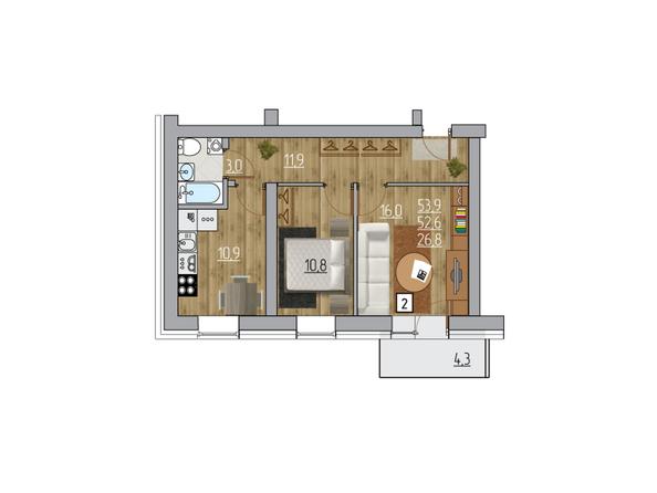 Планировка двухкомнатной квартиры 53,9 кв.м
