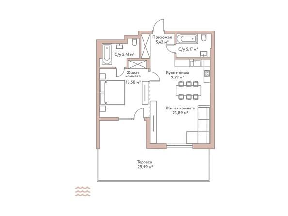 Планировка 2-комн 65,76 м²