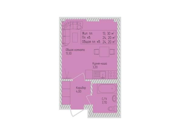 Планировки Жилой комплекс СЕВЕРО-ЗАПАДНАЯ, дом 5 - 1-комнатная 24,2 кв.м