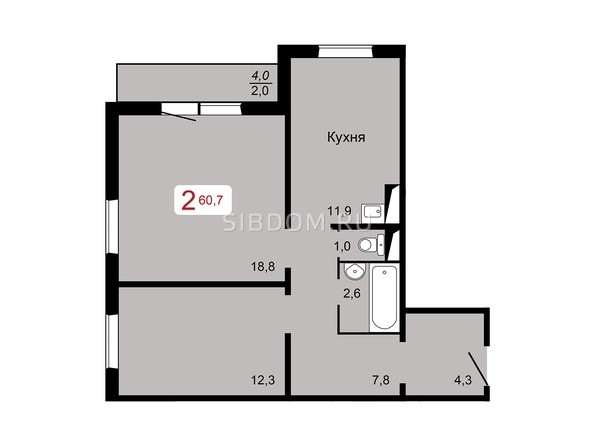 2-комнатная 60,7 кв.м