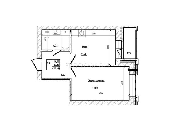 Планировка 1-комн 37,94 м²