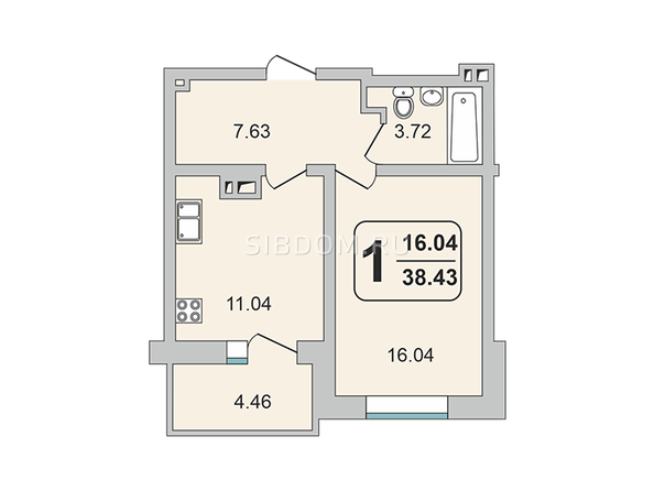 Планировки ГРАНД-ПАРК, б/с 2-2 - 1-комнатная 38,43 кв.м