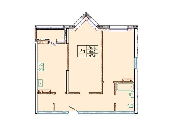 Планировка двухкомнатной квартиры 67,5 кв.м